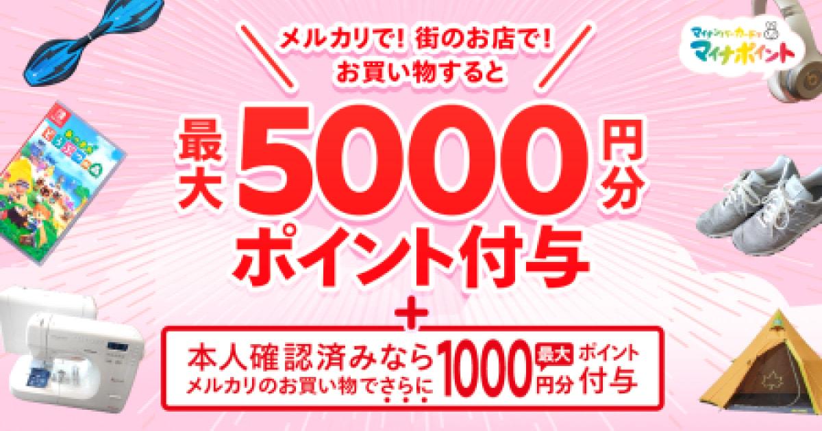マイナポイント申込みで最大 6,000 円分ポイント付与 (マイナポイント事業分 P5,000 + メルペイ分 P1,000)