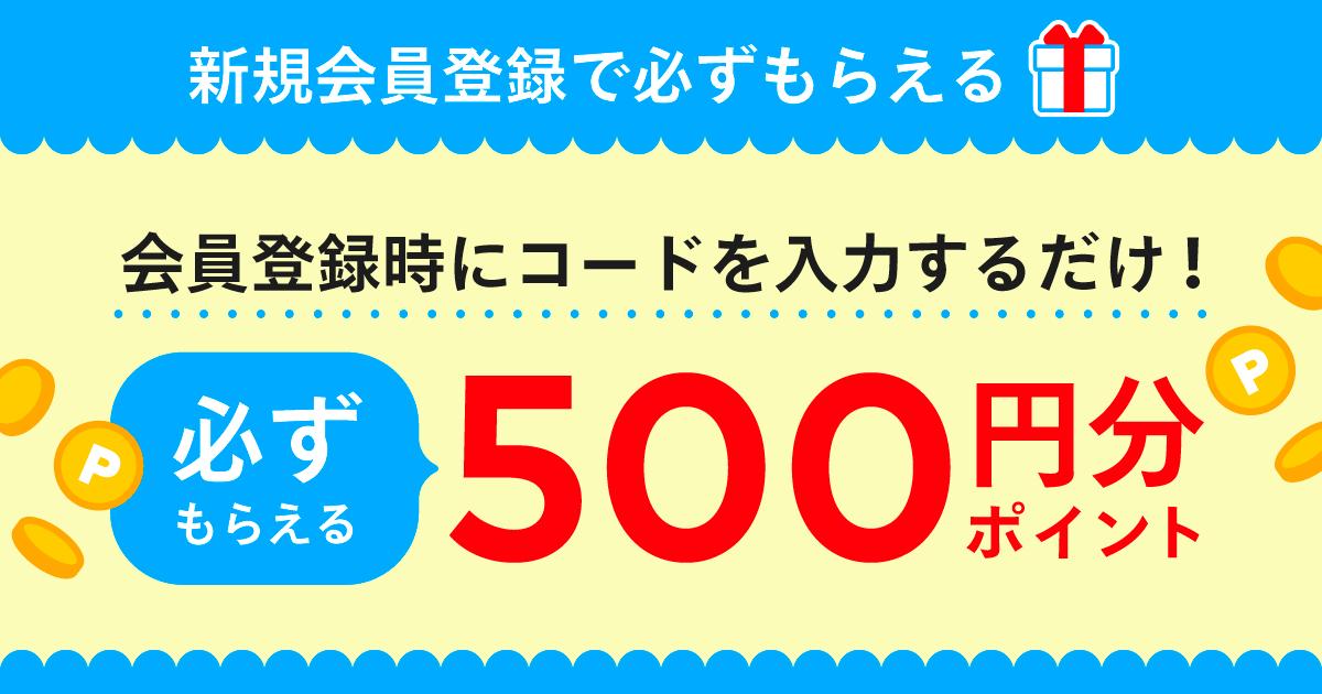 【新規会員登録プログラム】会員登録時にコード入力で500円分ポイントもらえる!